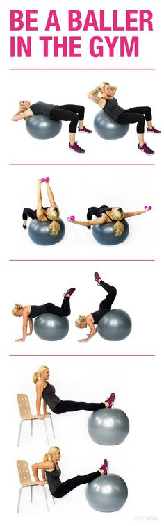 15 Stability Ball Moves for a Total Body Workout Get those tight abs with these stability ball exercises! More from my siteTotal Body Stability Ball Workout Total Body Stability Ball Workout Have a Ball with this Total Body Stability Ball Workout! Sport Fitness, Fitness Diet, Health Fitness, Fitness Models, 7 Workout, Workout Watch, Workout Ball, Workout Fitness, Waist Workout