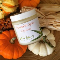 PUMPKIN SPICE BODY BUTTER!!! It's all natural, handmade, and smells delicious!  All of our butters are made with the highest quality ingredients on Earth. They are super moisturizing and leave your skin feeling silly smooth and healthy!  Our butters are excellent in helping heal eczema, psoriasis, and other skin irritations.  Available now at ALoNaturals.com! 🎃🍁🍃