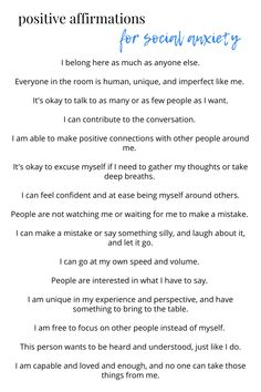 Using positive self talk and mantras to fight against fear and negativity in social situations. Here are some of the best affirmations for social anxiety. Anxiety Coping Skills, Anxiety Tips, Anxiety Help, Stress And Anxiety, Mantras For Anxiety, Therapy For Anxiety, Affirmations For Anxiety, Socialism, Mental Health