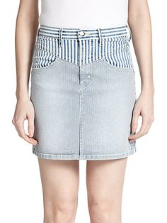 KORAL - Striped Denim Pencil Skirt - Saks.com. #koraldenim