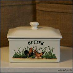 Large Ceramic Farmhouse Style Cockerel & Hen Butter Dish Cream