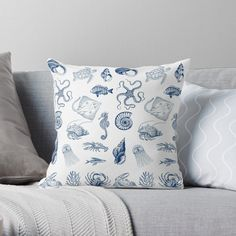 'Under the sea' Throw Pillow by EllenBeb Water Blue, Buy Shop, Under The Sea, Octopus, Sea Shells, Turtle, Exotic, Mermaid, Creatures