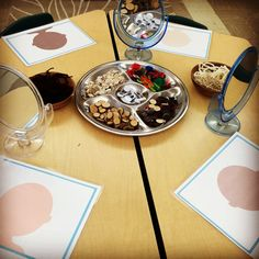 Play dough self portrait provocation with loose parts. The Curious Kindergarten.