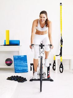 Why spring for a stationary bike? Hitch your road or mountain bike on the Travel Trac Fluid Trainer; it's sturdy, so you won't wobble as you pedal and move between levels of resistance via a handlebar-mounted shift lever. Fold it up for easy storage. ($150, performancebike.com)