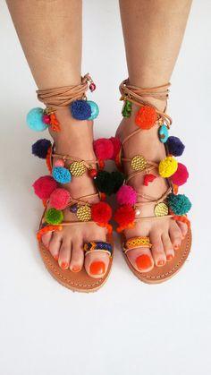 Tie up Leather Sandals Pom Pom Sandals Colorful by ElizabethShoes