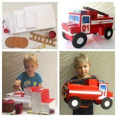 Пожарная машина из старых коробок.. Наша поделка для детского сада... #пожарнаямашина #поделки #домаразвиваемся #тематическоезанятие #детскоетворчество
