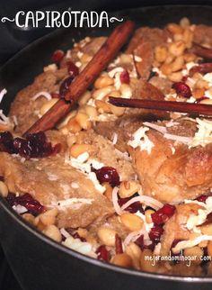 Receta Capirotada Mexicana postre típico de la Cuaresma o Vigilia en México. Fácil y rápida de preparar, ya sea con piloncillo o azúcar.