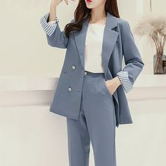 2019 Work Pant Suits Ol 2 Piece Sets One Buttons Blazer Jacket Oversized Trousers Suit For Women Set Korean Girl Fashion, Korean Fashion Trends, Ulzzang Fashion, Kpop Fashion Outfits, Girls Fashion Clothes, Suit Fashion, Korean Outfits, Mode Outfits, Fashion Goth