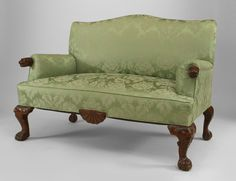 English Georgian style mahogany salon set with carved lion arms & heads on legs with green upholstery (settee: 2 arm chairs) SITTING AREA 3 Piece Living Room Set, Living Room Green, Living Room Sets, Georgian Interiors, Sofa Upholstery, Chairs For Sale, Soft Furnishings, Colorful Interiors, Love Seat