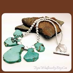 Stunning Sterling and Turquoise Howlite Slab Statement Necklace! By tropicwindjewelry.etsy.com