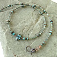 Turquoise beaded choker necklace antiqued copper by dalystudios