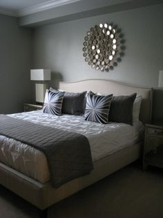 bedrooms - Martha Stewart - Bedford Gray - Crate and Barrel Colette bed Z Gallerie Borghese nightstands Z Gallerie Gatsby lamps West Elm Pintuck duvet West Elm Bullseye throw pillows Thomas O'Brien Menswear coverlet and shams Pier 1 Circles mirror