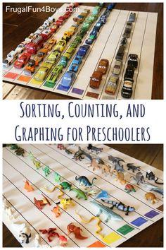Sorting, Counting, and Graphing for Preschoolers Preschool Colors, Preschool At Home, Preschool Lessons, Preschool Classroom, Kindergarten Math, Reggio Classroom, Montessori Elementary, Preschool Ideas, Elementary Art