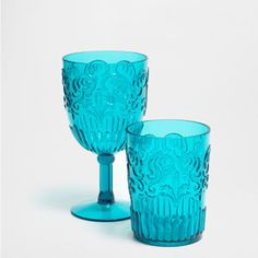 TURQUOISE DOTS GLASS GLASSWARE