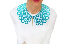 Turquoise Gold Lace Peter Pan Collar Circle by HAREMDESIGN on Etsy