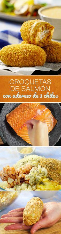 Dale un toque muy especial a tus comidas con estas croquetas de salmón con aderezo de 3 chiles diferentes. Crujientes por fuera y suaves por dentro. Perfectas para una cena romántica.