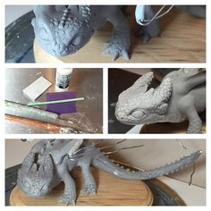 """emilysculpts: """"Adding lots of scales and spines. Just finished up sanding too. Ready to move onto wings and fins. I sculpt the scales a bit """"puffy"""" and then use controlled sanding after baking to get..."""