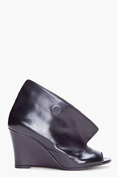 MAISON MARTIN MARGIELA Black Leather Magnet Wedges