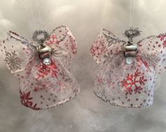 Set of Two, Silver and Red Snowflake, Angel Christmas Tree Decoration, Angel Ornament, Ribbon Angel Ornament, Christmas Decoration