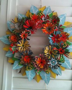 Prints Charming wreath made from recycled cardboard and shopping bags.      no instructions