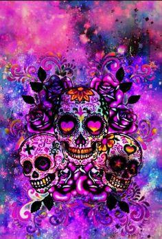 Hipster Skulls Galaxy, made by me - Galaxis Sugar Skull Wallpaper, Sugar Skull Artwork, Mermaid Wallpaper Backgrounds, Mermaid Wallpapers, Trendy Wallpaper, Sugar Skull Crafts, Sugar Skulls, Skull Rose Tattoos, Skeleton Art