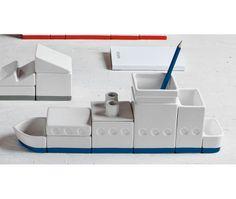 The ship porcelain desk organizer set