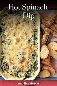Hot Spinach Dip - - This rich, creamy dish makes the perfect party dip. Otherwise, you might devour it all yourself. Party Dips, Party Appetizers, Appetizer Dips, Appetizer Recipes, Party Food Recipes, Best Spinach Dip, Creamy Spinach Dip, Baked Spinach Dip, Spinach Artichoke Dip