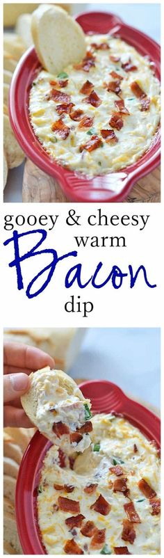 This Gooey and Cheesy Warm Bacon Dip comes together in less than 30 minutes and is the perfect crowd-pleasing appetizer!