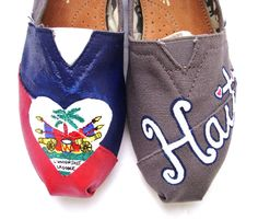 The Haiti Gray and Red Custom TOMS by FruitfulFeet on Etsy. $150.00 USD, via Etsy.  i'll have been there soon :D