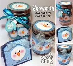 Snowman Jar Wraps, Card & Tag. Create quick artful gifts with canning jars and scrapbook papers.
