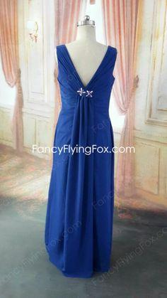 Stunning V-Neckline Royal Blue Chiffon Evening Dress