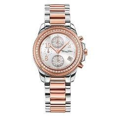Thomas Sabo Glam Chrono Silver and Rose Gold Stainless Steel Women's Watch w/Crystals Thomas Sabo, Couleur Or Rose, Hand Watch, Gold Hands, Jewelry Packaging, Stainless Steel Bracelet, Bracelet Watch, Rose Gold, Crystals