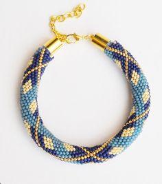 Blue Tartan beaded crochet rope pattern diy by Calliphorabeads