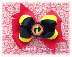 The Incredibles hair bow by JuneBuggyBowCompany on Etsy, $6.00
