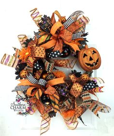 Halloween Wreath w Jack-o-Lantern in by SouthernCharmWreaths