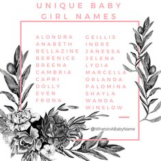 Unique and Uncommon but Beautiful Baby Names for Girls || What's in a Baby Name? || Baby Namer || Name Consultant || #WhatsInABabyName #BabyNames @WhatsInAbabyName