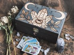 Really fun custom piece inspired by a box I made a few months back✨I'm kind of tempted to make this design (or something very similar) made… Painted Wooden Boxes, Diy And Crafts, Arts And Crafts, Baby Witch, Modern Witch, Witch Aesthetic, Witchcraft, Magick, Book Of Shadows