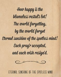 poem eternal sunshine of the spotless mind - Google Search