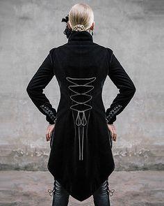 Devil Fashion Requiem Womens Tailcoat Jacket Black Velvet Gothic Steampunk VTG