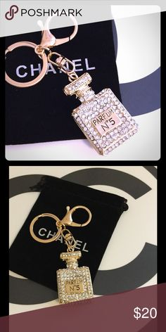 14k Gold Parfum No. 5 Purse Charm Keychain Crystal & Gold No. 5 Keychain. Perfume bottle is about 2 inches tall, hangs about 4 inches from key ring. Bag in pictures not included, sorry. CHANEL Makeup Brushes & Tools
