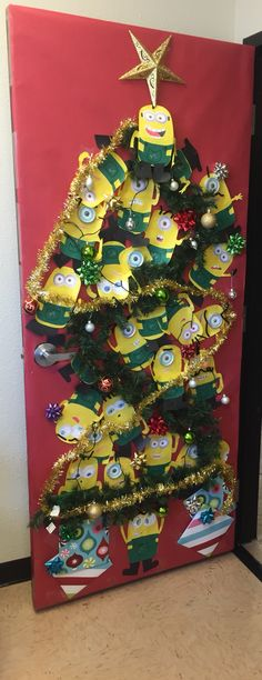 Christmas minion door decoration