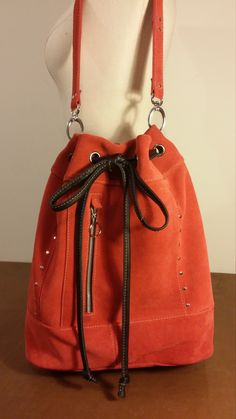 Red Studded Suede Leather Drawstring Bucket Bag Shoulder Crossbody Handmade In USA by ForgedLeatherBags on Etsy