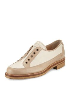 Laceless+Colorblock+Leather+Oxford,+Beige+by+Gravati+at+Bergdorf+Goodman.