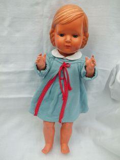 Alte Cellba Gretchen-Puppe um 1935, Cellba-Puppe, 42 cm, Affenschaukelfrisur