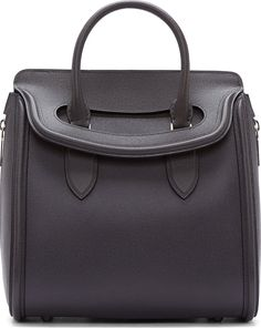 Alexander McQueen - Grey Leather Woven Grain Heroine Tote Bag