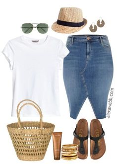 Plus Size Summer Denim Skirt Outfit - Plus Size Fashion for Women - Plus Size Casual Outfit - alexawebb.com #alexawebb #plussizefashionforwomen #casualskirtsummer #casualsummeroutfits #skirtoutfits #plussizesummeroutfits