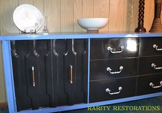 Periwinkle Blue and Ebony stained credenza Periwinkle Blue, Rarity, Credenza, Dresser, Restoration, Cabinet, Storage, Furniture, Home Decor