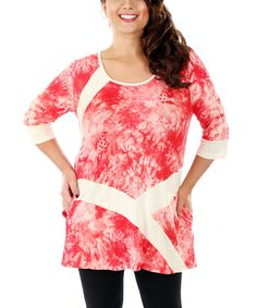 Look at this Aster Red & White Floral Tunic - Plus on #zulily today!