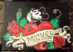 Mickey Mouse Tattoos, Family Tattoos, Disney Mickey Mouse, I Tattoo, Wall Art, Crafts, Painting, Fictional Characters, Etsy