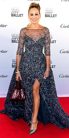 Sarah Jessica Parker in an embellished lavender Zuhair Murad gown worn with a sparkly maroon bag and silver T-strap heels at the 2015 New York City Ballet Fall Gala.